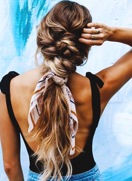 ponytail-with-scarf-hairstyle