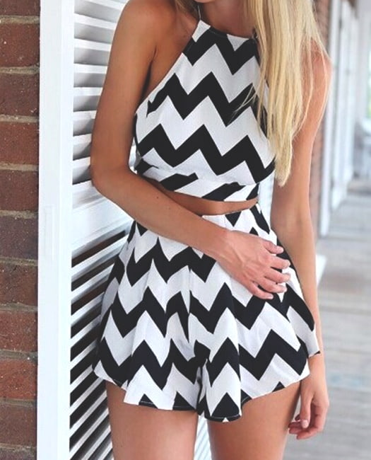 flared-black-and-white-short