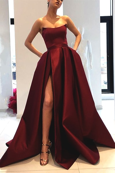 burgundry-strapless-prom-dress
