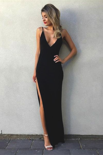 v-neck-black-long-prom-dress