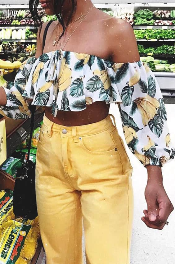 banana-printed-off-the-shoulder-yellow-pant-outfit