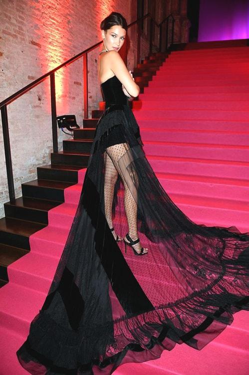 bella-hadid-sequin-skirt-black-dress-min