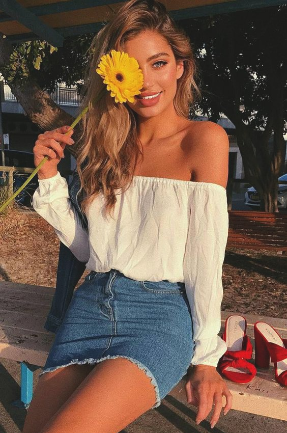 denim-skirt-off-the-shoulder-outfit