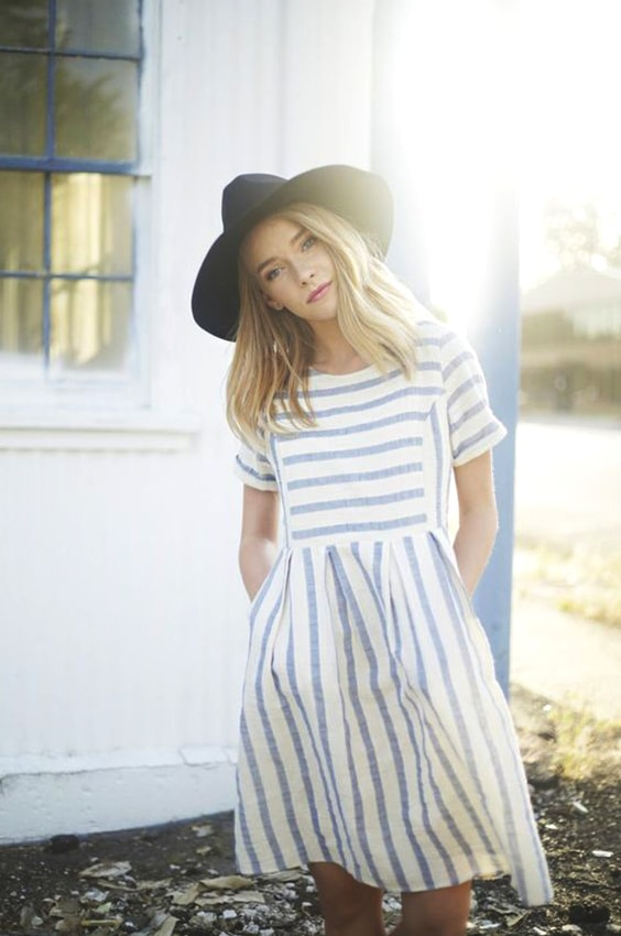 striped-cotton-dress-hat-outfit