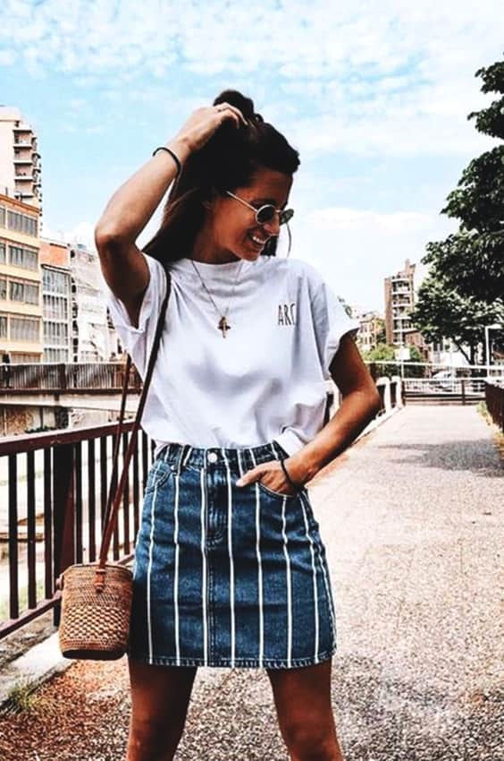 striped-denim-skirt-white-tshirt-