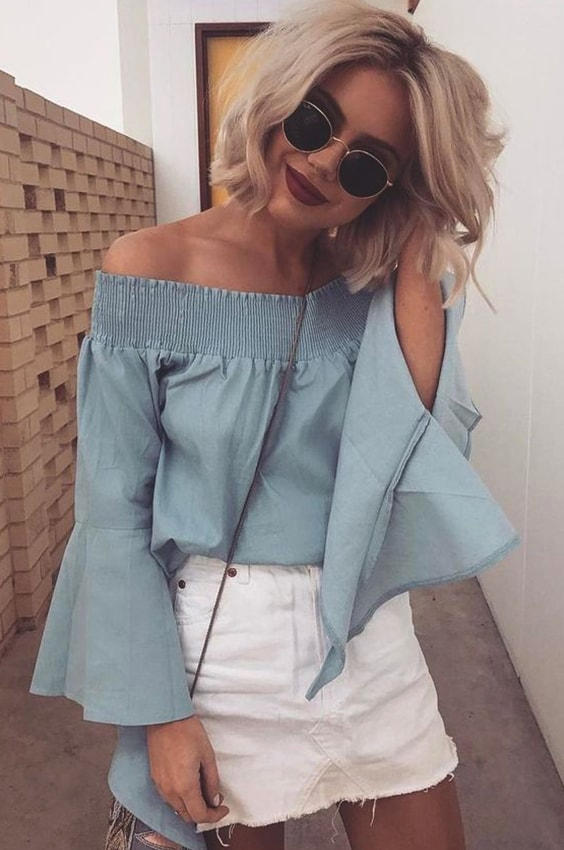white-denim-skirt-off-the-shoulder-top