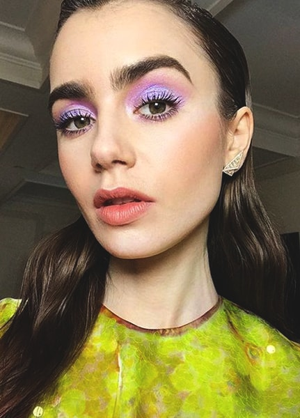 lily-collins-purple-makeup-look