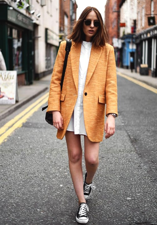 orange-blazer-with-summer-dress-fall
