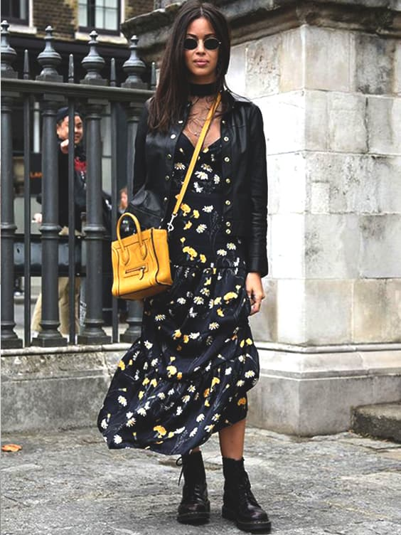 black-floral-maxi-dress-fall-street-style-outfits-for-school