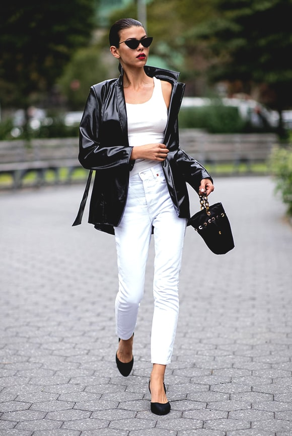 black-leather-jacket-white-pant-outfit-street-style-newyork-fashion-week-spring-2019-min