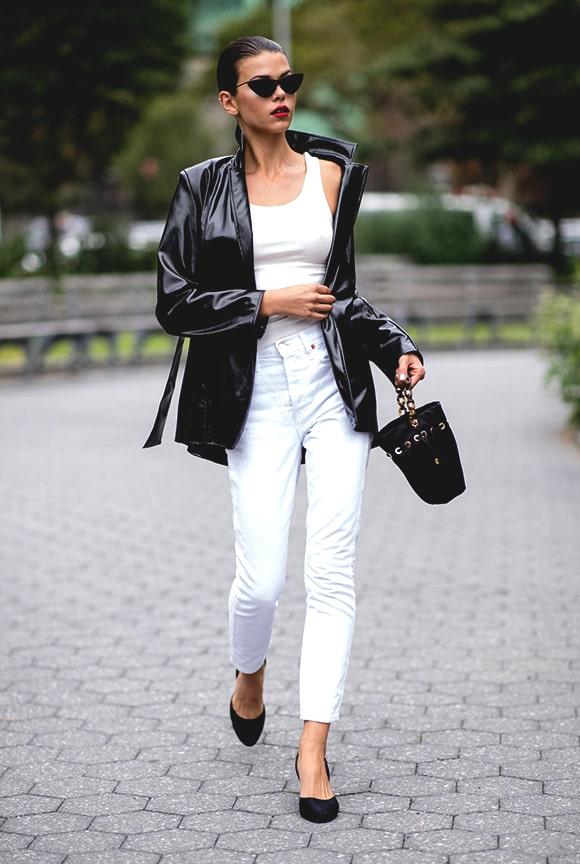 black-leather-jacket-white-pant-outfit-street-style-newyork-fashion-week-spring-2019-min