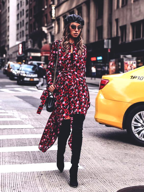 floral-red-midi-dress-fall-fashion-ideas