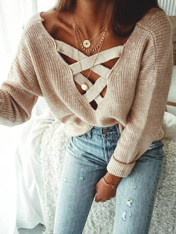 laced-up-v-neck-high-low-sweater-beige