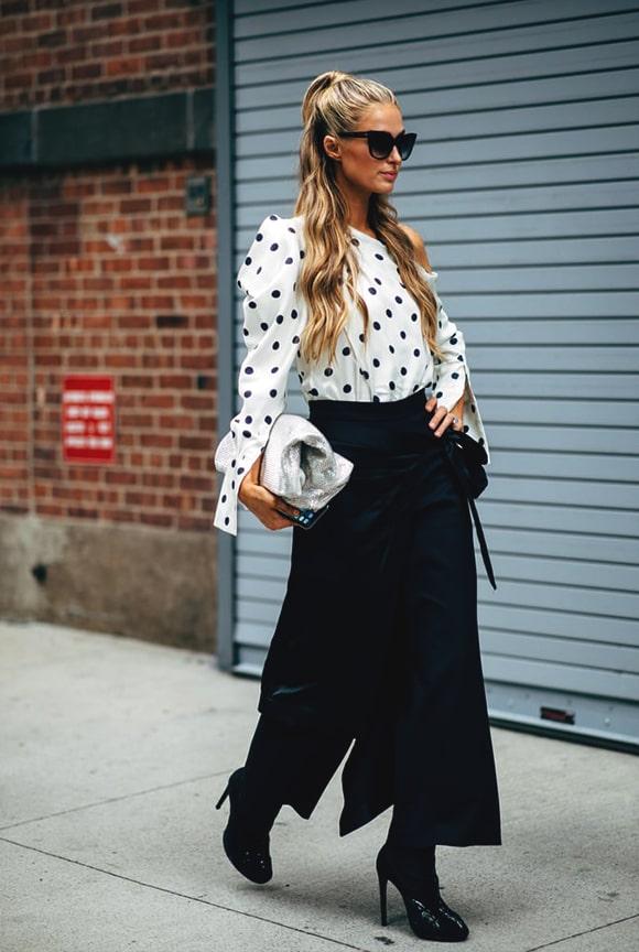 polka-dot-shirt-paris-hilton-street-style-nyfw-spring-2019-min