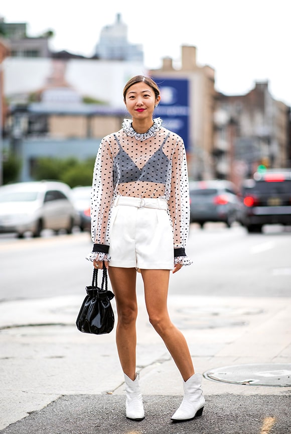 polka-dotted-sheer-white-shirt-outfit-look-street-style-nyfw-2018-min