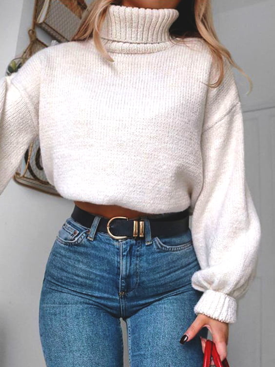 white-turtleneck-sweater-denim-jean-outfit-fall-look-ideas