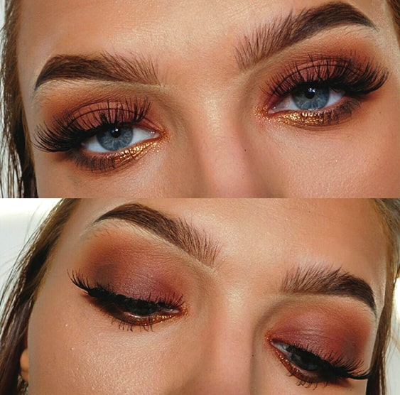glittery-pink-brown-smokey-eye-makeup
