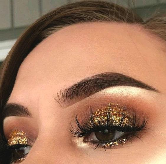 Gold Gliterry Smokey Eye Makeup Look Ecemella