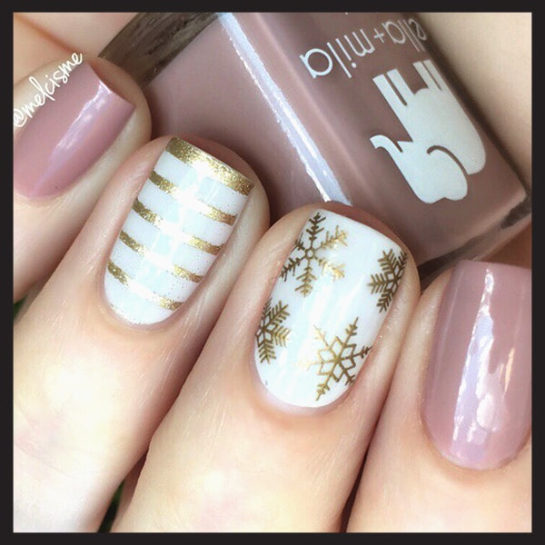 christmas-nail-art-design-ideas-gold-glittery-white-nails-min
