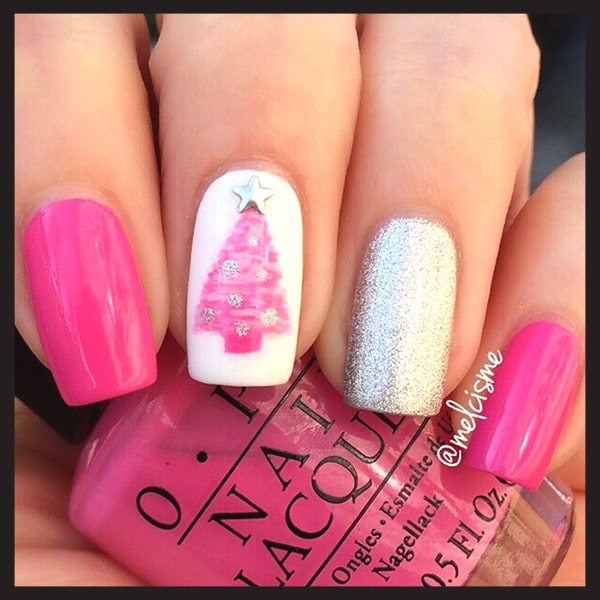 Christmas Nail Art Design Ideas Pink And Silver Nails Min Ecemella