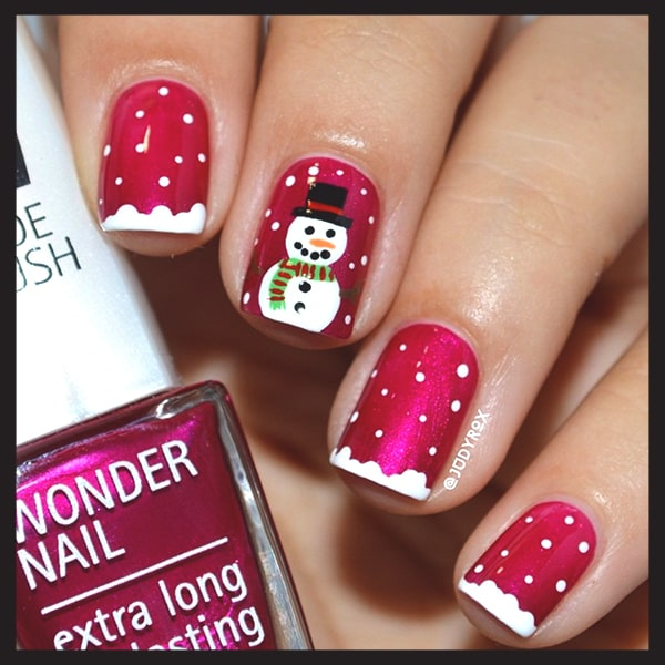 christmas-nail-art-ideas-red-snowman-white-dotted-nails-min