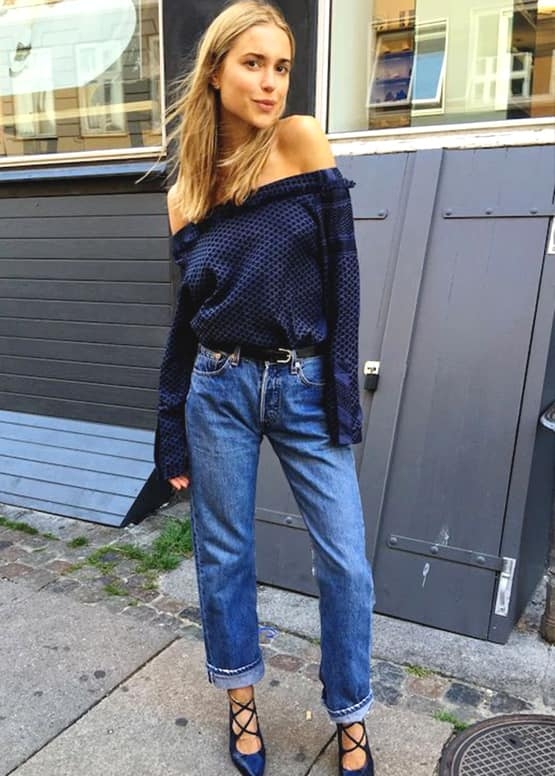 how-to-wear-boyfriend-jeans-with-off-the-shoulder-top