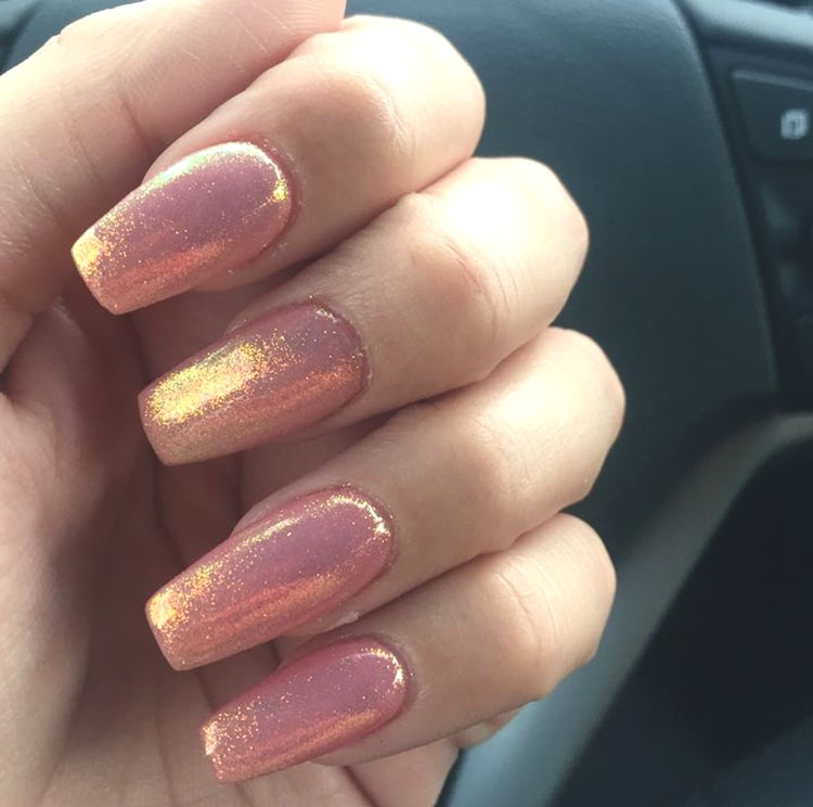 Glittery Rose Gold Pink Nail Art Design Min Ecemella