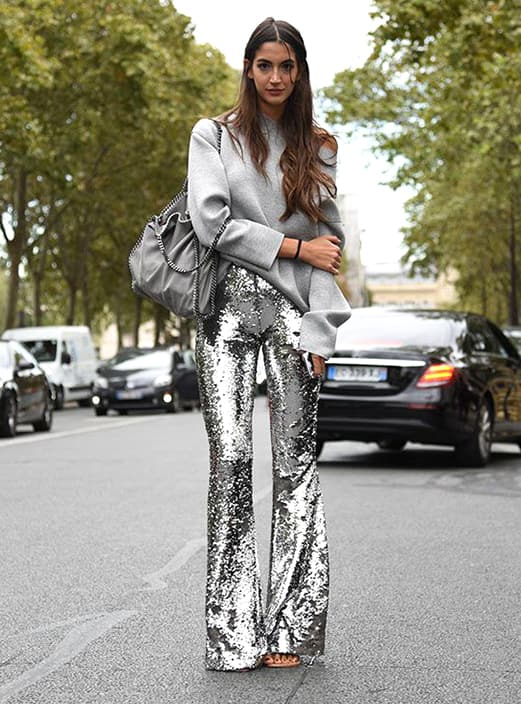 metallic-sequin-trouser-grey-sweatshirt-street-style-outfit-christmas-outfit-ideas-min