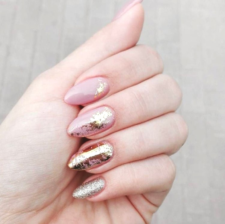 Rose Gold Abstract Nail Design Ideas Min Ecemella