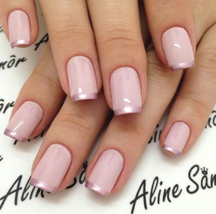 Rose Gold French Tips 2019 Nail Design Min Ecemella