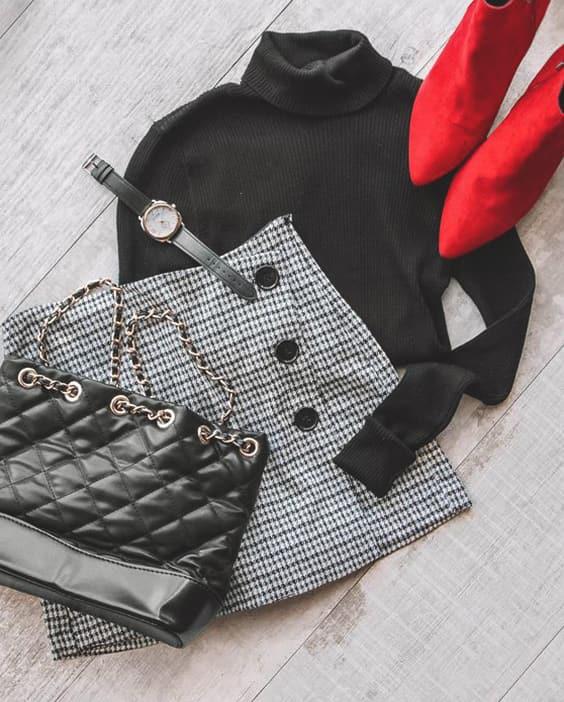 black-turtleneck-sweater-plaid-button-skirt-outfit-idea