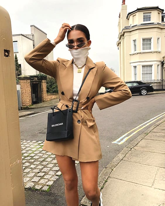 camel-belted-blazer-dress-white-turtleneck-sweater-outfit-idea-min