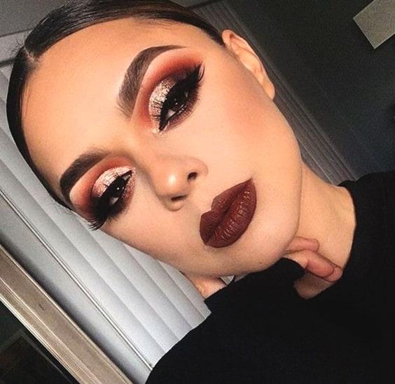 glittery-cut-crease-eye-makeup-bold-lipstick-night-out-makeup-ideas-min
