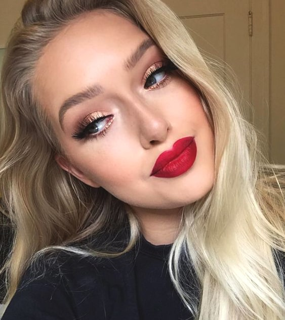 gold-eyeshadow-red-lips-makeup-look-night-out-makeup-ideas-min