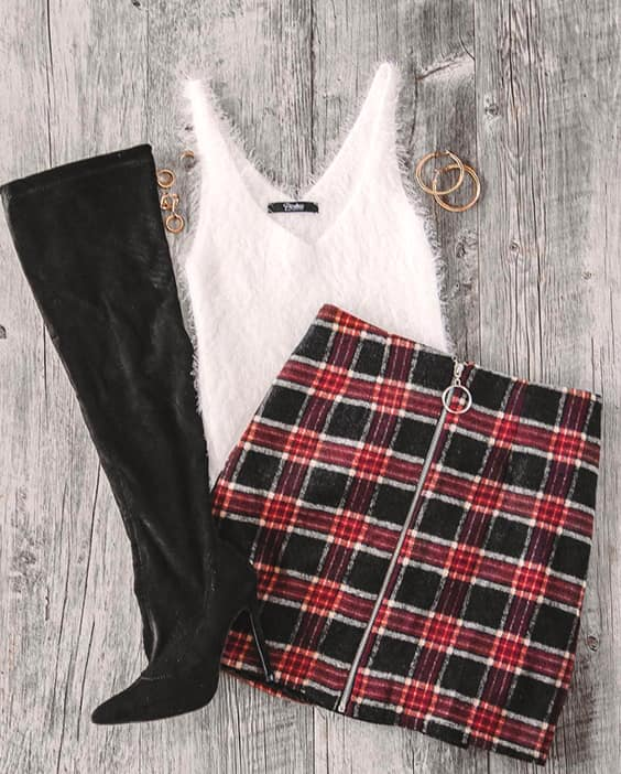 long-suede-boots-plaid-red-skirt-luxe-top-outfit-idea