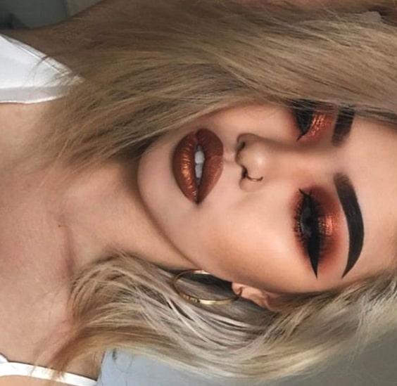 metallic-copper-makeup-night-out-makeup-ideas