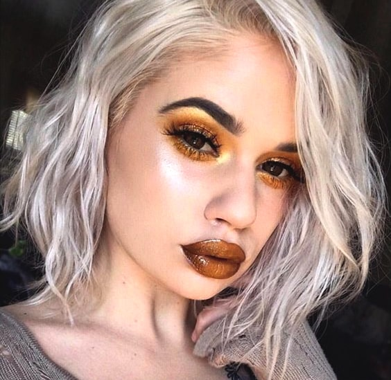 metallic-copper-lips-night-out-makeup-looks