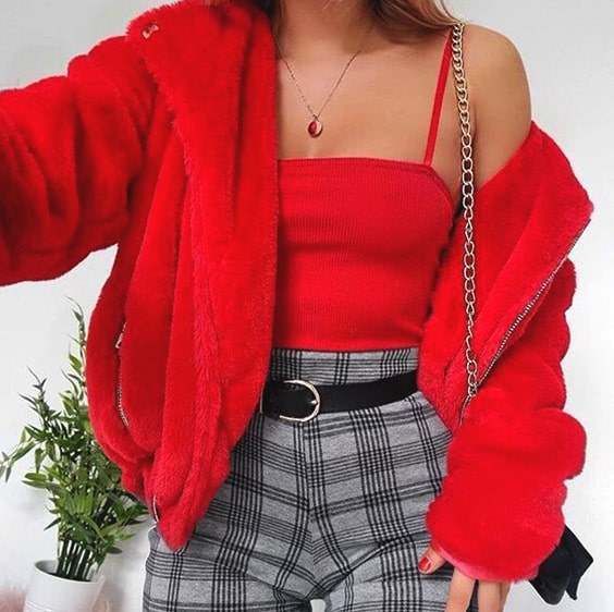red-puffy-coat-red-top-plaid-pants-valentines-day-outfits-min