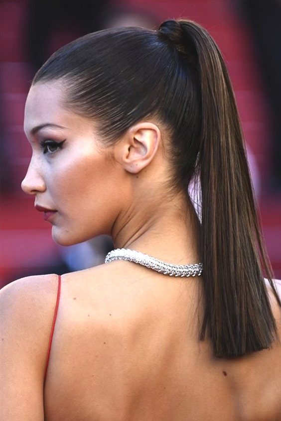 bella-hadid-sleek-ponytail-wedding-hairstyle-ideas-min