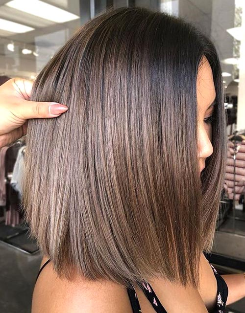 Sleek Lob Brunette Hairstyles Ecemella