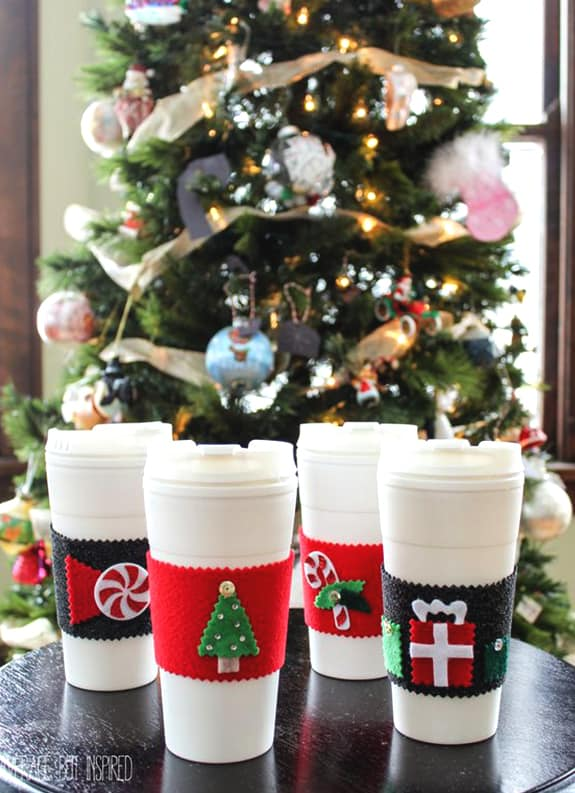 Felt Coffee Cup Sleeve Diy Crafts Ideas Christmas Ecemella