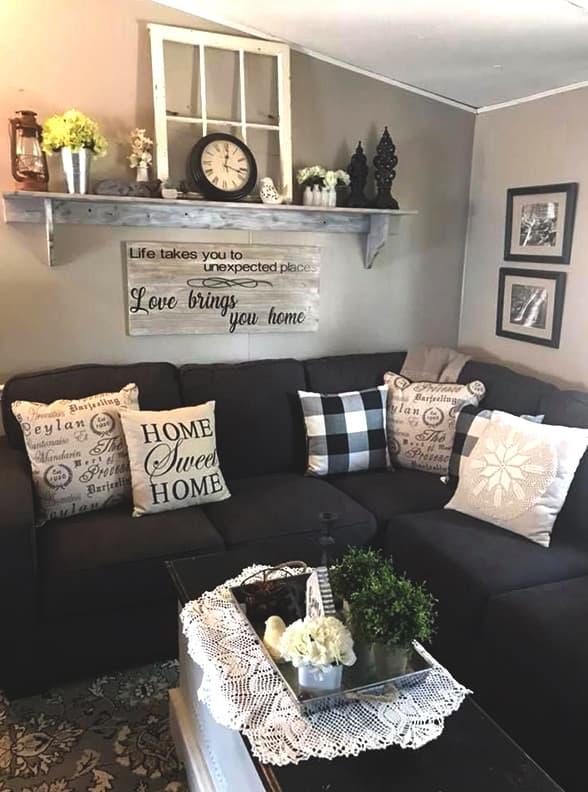 Rustic Farmhouse Living Room Decor Idea Ecemella,Built In Bookshelf And Desk Ideas